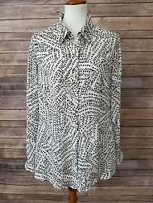 Cabi #3255 Split Back Blouse Black White Print Long Sleeve Button Down Size M