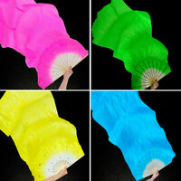 DIY Hand Made Colorful Dance Fan Veils for Women long Silk Fan Bamboo Fans