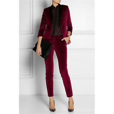 Burgundy Ladies Trouser 2 Piece Velevt Suit Formal Business Womens Tailored Suit