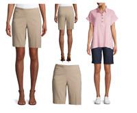 Time & Tru Womens Millenium Bermuda beige blue black Shorts Super Stretch fabric