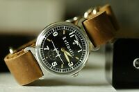 Vintage Luftwaffe Pobeda ZIM Rare Military Mechanical wrist watch leather strap