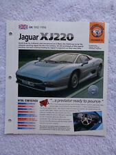 1993 Jaguar XJ220 brochure / specification sheet