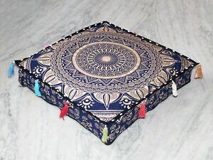 "18"" Square Blue Mandala Floor Pillow Cover Cotton Ottoman Pouf Cushion Covers"