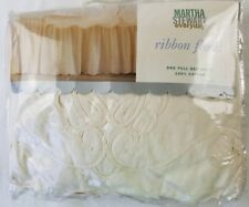 Martha Stewart Everyday One Full Bed Skirt Ribbon Floral 100% cotton NEW natural