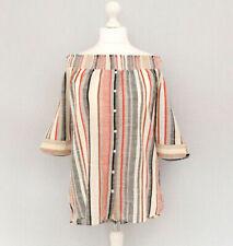 NEXT Women Top 18 Off Shoulder Stripe Shirt Metallic 3/4 Sleeve Blouse Cotton