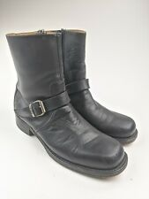 Mens Frye Buckle Side Zip Ankle Boots Black Leather Sz 10.5 M