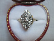 Antique 18ct Gold 1.75ct Diamond Cluster Ring In Marquise Setting. Size Q 1/2.