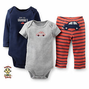 Carter's 3-piece Turn Me Around Set Blue Car 3 months Authentic & Brand New