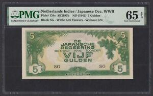 Netherlands Indies JIM WWII 5 Gulden 1942 UNC (Pick 124c) PMG-65 EPQ
