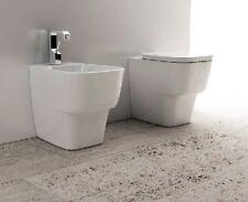 Sanitari bagno design a terra filo muro da appoggio vaso bidet e sedile soft