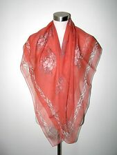 AUTHENTIC ALEXANDER McQUEEN SKULL&BUTTERFLIES 100% SILK 40X45 CORAL/IVORY SCARF