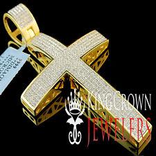 Genuine Diamond Mens Elegant 14k Yellow Gold FInish Cross Pendant 3 Inch 2.00 Ct