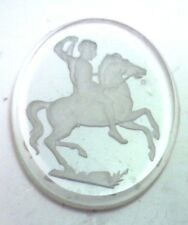 NOS Antique Vintage Crystal Large Oval Intaglio Reverse Cameo Stone Horse #C310