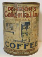 Old Vintage 1920s DENISON COLONIAL INN BRAND COFFEE TIN GRAPHIC TALL 1 POUND CAN