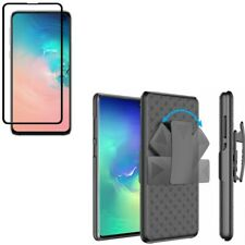 Galaxy S10e - Tempered Glass Screen Protector w Holster Case Belt Clip 5D Curved