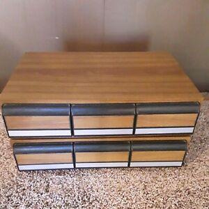 2- 3 Drawer 36 Audio Cassette Tape Storage Holder Case Faux Wood Grain Look