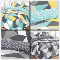 SHAPES Geometric Funky Triangles Reversible Duvet Quilt Cover Set Bedding 50/50