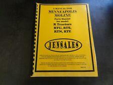 Minneapolis Moline Jensales Rtu Rts Rtn Rte R Tractors Parts Manual