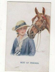 Florence E Valter Best Of Friends Girl & Horse 1686 Faulkner Art Postcard 473c