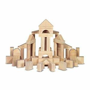 Melissa & Doug Standard Unit Solid-Wood Building Blocks With Wooden Storage Tray