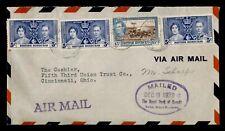DR WHO 1939 BRITISH HONDURAS BELIZE AIRMAIL TO USA KGVI CORONATION f53634