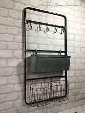 Vintage Industrial Style Metal Wall Shelf Unit Rack Hooks Storage Unit Baskets