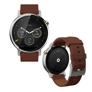 Motorola Moto 360 2nd Gen. 46mm Stainless Steel Case Brown Classic Buckle
