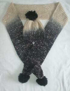Lovely ladies cream, grey & black sequinned scarf and bobble-hat set from George