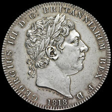 More details for 1818 george iii milled silver lviii crown, ef