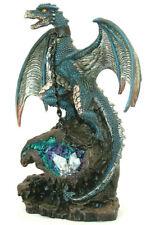 blauer Drache mit Metall Kette blauer Fels LED, Fantasy Figur 21 cm hoch