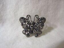 Small BUTTERFLY Sparkling BLACK Crystal Dark Metal Lapel PIN Tie Tac BRAND NEW