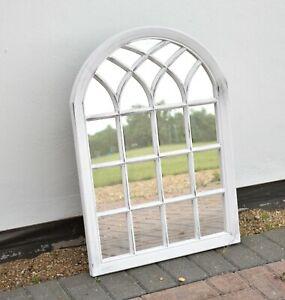 White Rustic Look Soho Window Style Mirror Elegant Vintage Hallway 50x71cm