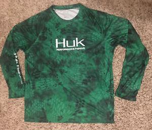 HUK Performance Fishing Long Sleeve Green Graphic Print Pullover Shirt Men XL