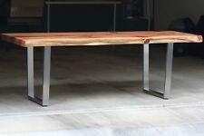 Live edge redwood dining table with steel legs