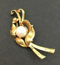 Stunning 14k Solid Gold Pearl Brooch Pin Branch Leaves Unique Fabulous Vintage