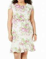 Betsey Johnson Women's Dress Pink Size 14W Plus Sheath Floral Print $118 #020