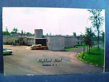 Postcard NY Massena 1950's View Highland Hotel Old Cars