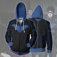 Batman Nightwing Robin Sweatshirt Hoodie Zip Up Coat Jacket Cosplay Costume