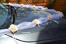 wedding car decoration, ribbon , bows, prom limousine , peach garland