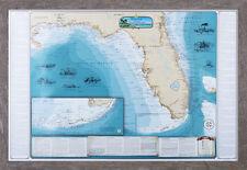 Shipwrecks of Florida and the Gulf Chart Map (Driftwood Framed) - Nautical Print