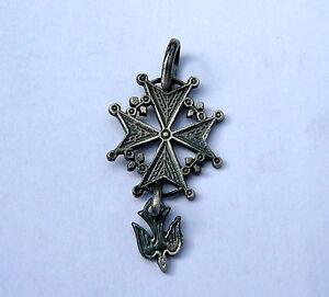 -Piccola CROCE UGONOTTA- CROCE VALDESE argento  brunito 925 Sterling silver
