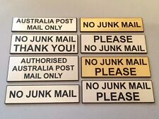 NO JUNK MAIL - CUSTOM SIZE & WORDING - SIGN/LABEL/PLAQUE SILVER/GOLD