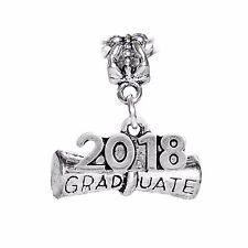 2018 Graduate Diploma Graduation Year Gift Dangle Charm fits European Bracelets