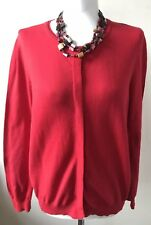 Next Size 16 Deep Red Button Front  Long Sleeved Cardigan