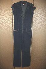 Tommy Hilfiger Jeans RARE Blue Denim Front Lace Up Vintage 90s Jumpsuit Small S