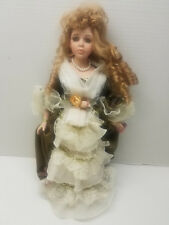 """Ashley Belle Victorian 18"""" Doll Collectible Green Eyes Strawberry Blonde w Stand"""