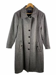 Lands End Long Overcoat Womens Size 18 Grey Black Button Up Lined Collar Pockets
