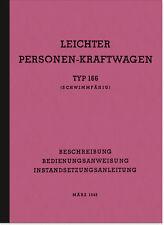 VW Schwimmwagen Typ 166 1943 Bedienungsanleitung Handbuch Betriebsanleitung