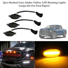 3pcs Smoked 12-SMD Amber LED Front Grille Running Marker Lights For Ford Raptor