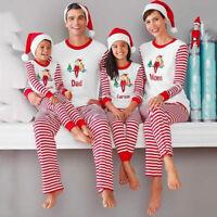 Family Kids Adult Christmas Elf Pajamas Striped Xmas Winter Sleepwear Nightwear